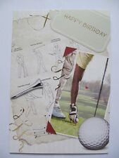 FANTASTIC COLOURFUL SWING ACTION GOLF RELATED HAPPY BIRTHDAY GREETING CARD