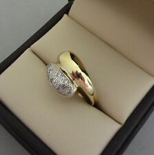 POLISHED 14K GOLD TWO-TONE DOME STYLE BYPASS RING W/ DIAMOND ACCENTS - 4 GRAMS
