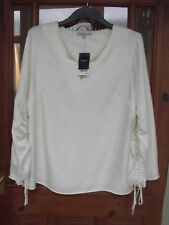 NEXT Cream Ruched Sleeve Shirt Tunic Top Blouse Size 20 RRP £34