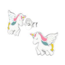 Pegasus Einhorn Glitzer Ohrstecker echt 925 Silber Pferd Ohrringe Kinder Mädchen