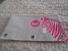 Art /Pencil pouch or Make Up Bag, With A Cute Zebra Design On Front