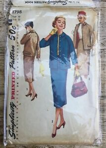 VTG 50s 60s Simplicity Misses Two Pieces Suit Sewing Pattern  Size12 Bust 32