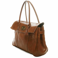 MULBERRY Bayswater textured leather brown leather satchel flap bag