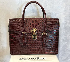 NWT $33997 STEFANO RICCI Brown Crocodile Leather Briefcase ~ Rarest of Rare!!!