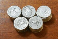 Mixed Roll $10 face * 90% SILVER * Washington Quarters * 1930s to 1950s * 86202