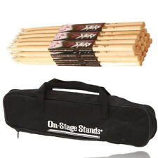 On Stage 5A Maple Durable Drum Sticks  12 Pair Wood Tip, with 2 Pocket Drum Bag