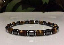 Mens Bracelet Tiger Eye & Hematite Gemstone Beads stretch