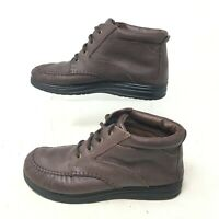 Duck head Casual Comfort Shoes Mid Top Lace Up Pebbled Leather Brown Womens 8 W