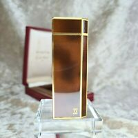 Rare Vintage Authentic Cartier Gas Lighter Brown Lacquer Pentagon with Case