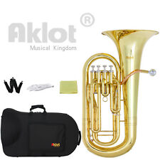 Aklot BB 4 Valve Euphonium Gold Lacquered Brass Body Stainless Steel Piston