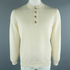 BRUNELLO CUCINELLI Size 44 / IT 54 Beige Cable Knit Cashmere Henley Sweater