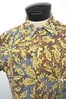 RARE! VTG KAHALA brown fishing print Hawaiian camp shirt sz M mens S/S#6109