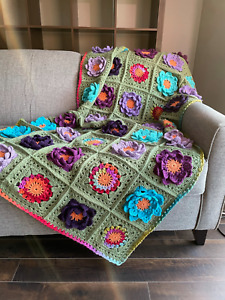 New Hand Crochet Crocodile Floral Green Blue Purple Multi Afghan Blanket Throw