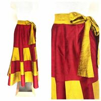Vintage VTG Handmade 70s 1970s Red Yellow Colorblock Silk Maxi Skirt