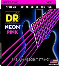 DR NPB6-30 Neon Pink Bass Guitar Strings;  6-String set gauges 30-125
