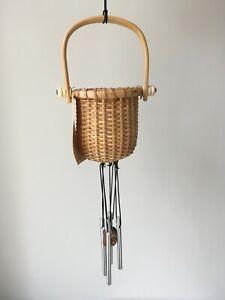 Vintage Nantucket Basket Handle Windchime - Shell Wood Beach Island Themed