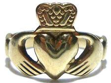 """JMH"" IRISH IRELAND 375 9K 9CT GOLD CLADDAGH CROWN HEART WOMENS RING BAND SZ 8.5"