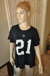 EZEKIEL ELLIOTT DALLAS COWBOYS NFL  WOMEN'S  JERSEY STYLE SHIRT NAVY XL-4XL NWT