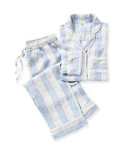 NWT Serena & Lily Porto Linen Pajamas Pants and Shirt - Blue Stripe Size S
