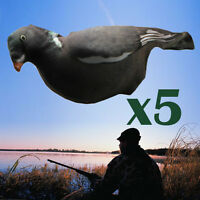 5*Flocked Full Body Realistic 3D Pull Pigeons Covers Flexible Fabric Decoys