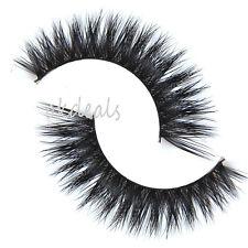 Hot 1 Pair 100% Real Mink Hair Black Thick Long False Fake Eye Lashes Eyelashes