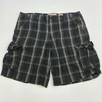 Mossimo Cargo Shorts Mens 40 Black, Gray Flat Front 100% Cotton Plaid Zip Fly