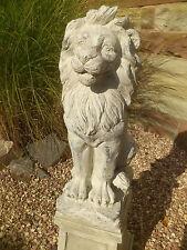 0Löwe Gartenfigur 60cm groß Torwächter Skulptur Gartendeko antik weiss Garten
