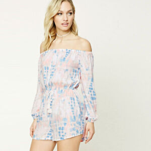 Forever 21 Tie Dye Long Sleeve Off Shoulder Romper Small White Blue Pink Shorts