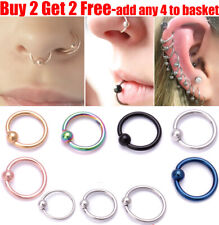 Surgical Steel Ball Closure Lip Ring Nose Ring Eyebrow Daith Tragus Hoop Ring