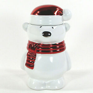 "Bath & Body Works PAWS THE POLAR BEAR 7"" Candle Cinnamon Scented White Red NWT"