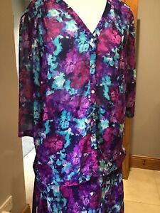 New M/&S Per Una Floral Swing Vest Purple Top Sz UK 18