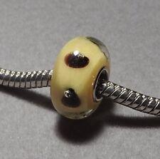 BLACK Spots on YELLOW - Handmade EUROPEAN Murano Glass Bead    (f275)