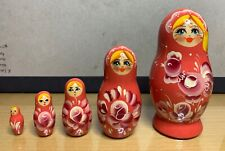 Russian Matryoshka Souvenir 4� Nesting Doll Traditional Girl Flower Rooster Pink