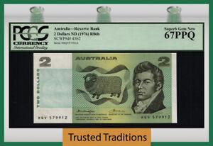 TT PK 43b2 1976 AUSTRALIA RESERVE BANK 2 DOLLARS SHEEP PCGS 67PPQ SUPERB GEM NEW