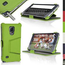 Verde Eco Pelle Custodia per Samsung Galaxy Note 4 SM-N910 Flip Supporto Cover