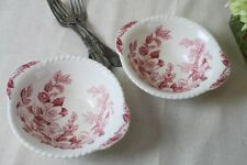 Windsor Ware Johnson Brothers Pink Apple Blossom Lugged Cereal Bowls Tab Handles