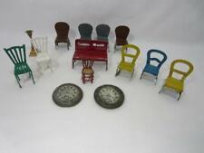 *Vintage. Antique Miniature Toy Lot 14 Pc - Tin, Metal Furniture - Dollhouse Sz