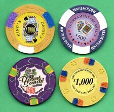 Lot of 4 Poker Chips Lucky Horseshoe, King's Casino, Desert Sands, Texas Hold em