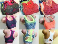 3-6 WOMEN'S SPORT BRAS BRA Active Wear YOGA WIRE FREE RACERBACK MIX STYLES M-XL