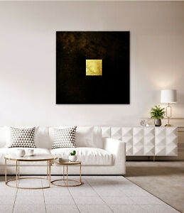 GOLD Leinwandbild Schwarz Braun Wandbild über Kommode Sideboard Modern Weiß XL