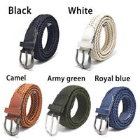 Women Men Braided Woven Leather Tip Buckle Waistband Waist Belt Straps Fashion