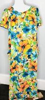 Vintage Small Medium S/M Colorful Floral Long Maxi Hawaiian MuuMuu Moo Moo Dress