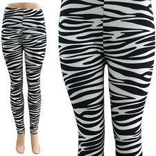 Fashion Zebra Printed Leggings Women's Stretch One Size Skinny Pants Tight