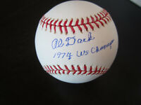 Alvin Dark Autograph Signed Baseball 1974 WS Champs Oakland Athletics