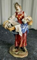 "Antique German Albert Stahl And Co Figurine, ""Peasant Lady"", 8""."