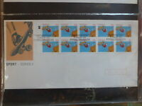 AUSTRALIA 1990 SPORTS II STRIP 10 STAMPS SKATEBOARDING FDC FIRST DAY COVER