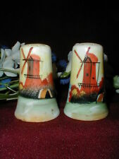 Japanese Porcelain Hand Painted Windmill Scenic Salt Pepper Shakers-Made Japan