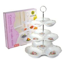 3 Tier Cake Stand Floral Ceramic Afternoon Tea Wedding Plates Tableware A10
