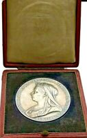 1897🔸️Large Silver Medal Coin Old Veiled Young Queen Victoria GB UK