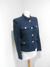 Zara Woman Azul Marino Boucle Tweed botón frontal Ajustada Blazer Chaqueta S pequeño en muy buena condición